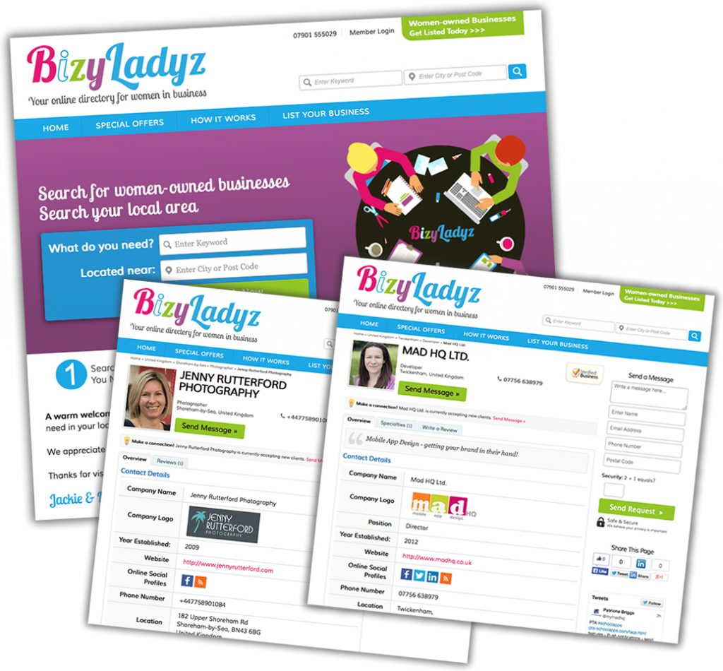 Website design for BizyLadyz