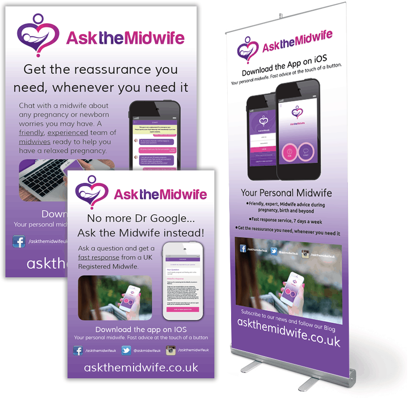 Pop up banner design for Ask The Midwife