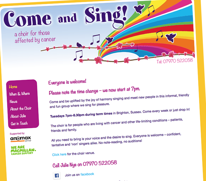 Web design Come and Sing Choir