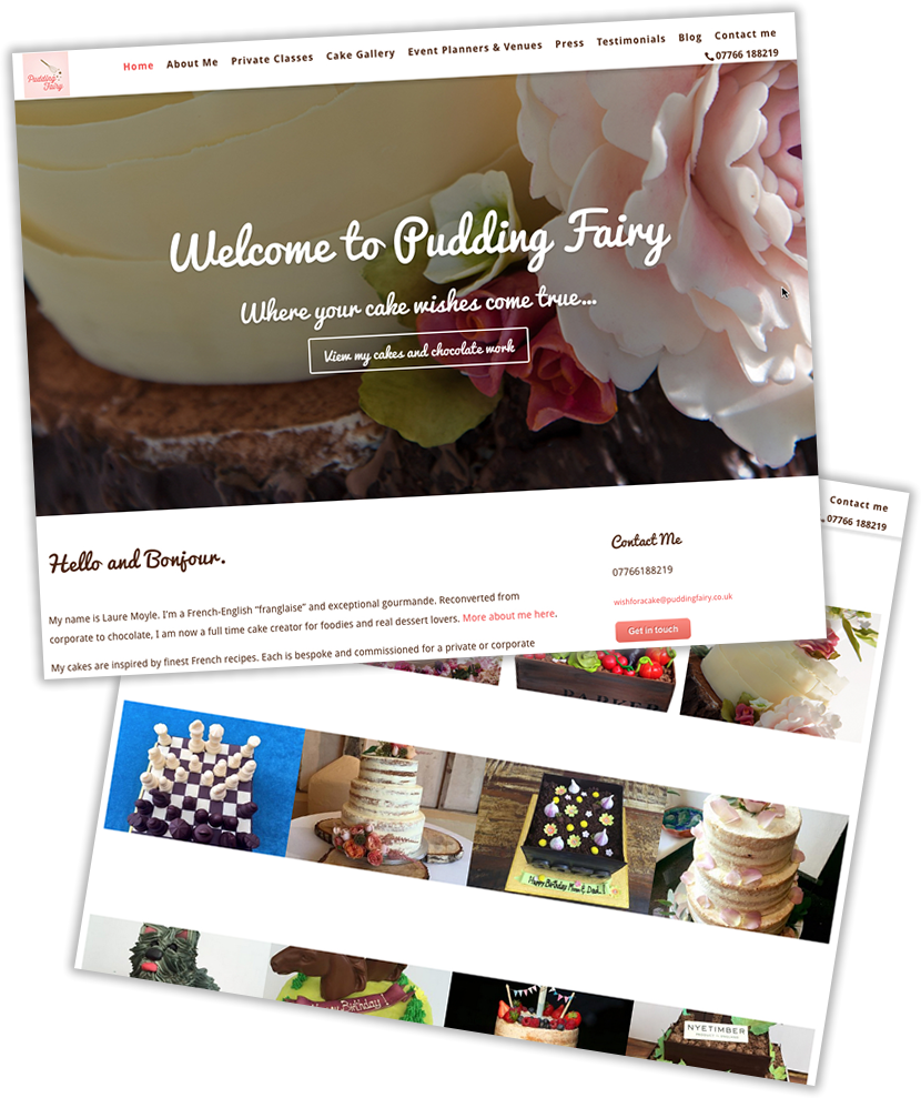 Website design for Pudding Fairy