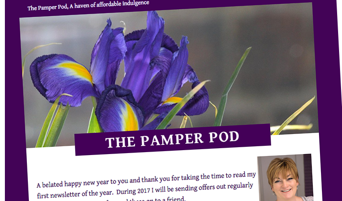 Newsletter design - The Pamper Pod