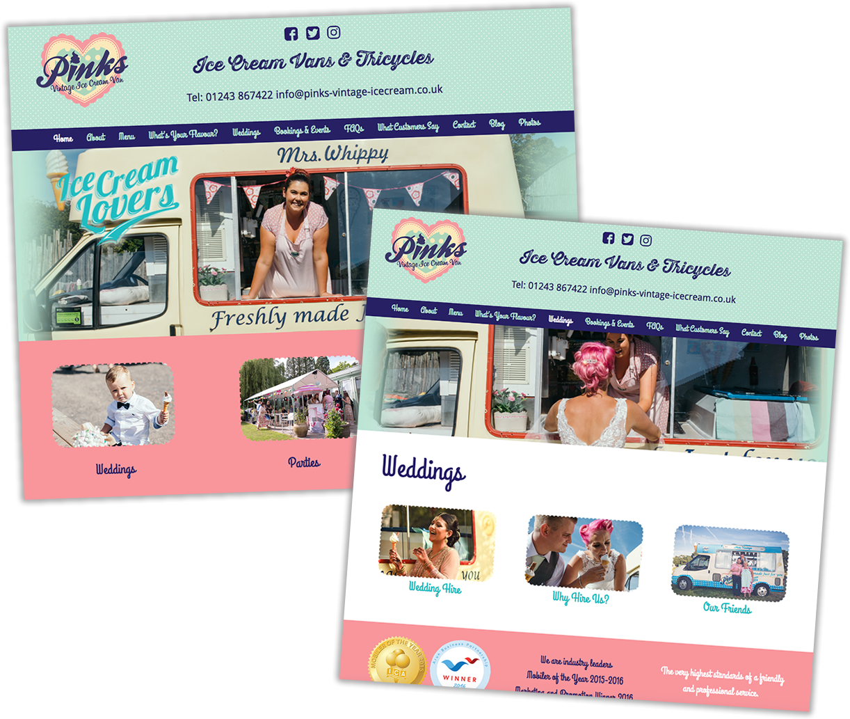 Web design - Pinks Vintage Ice Cream Vans