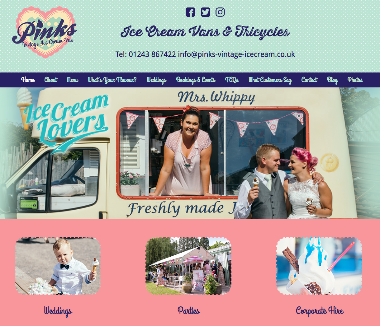Web design for Pinks Vintage Ice Cream