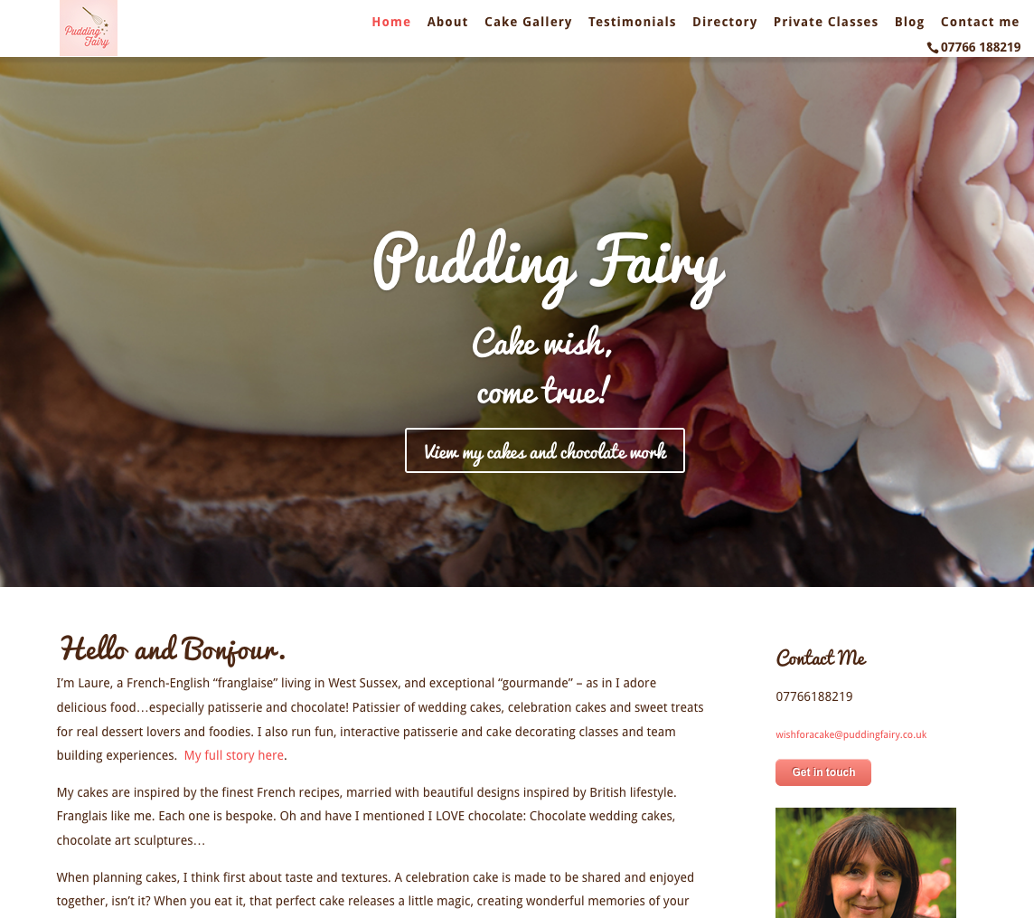 Web design for Pudding Fariy