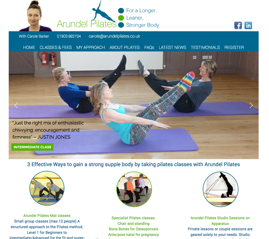 Web design for Arundel Pilates