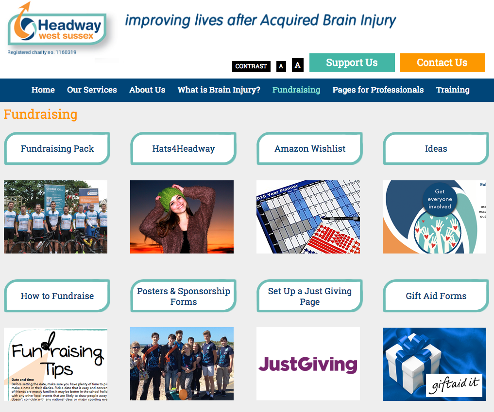 Web design for Headway West Sussex