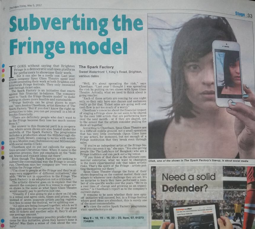 Newspaper coverage for Fringe festival, Spark Factory