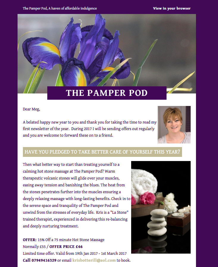 Newsletter management, marketing for The Pamper Pod