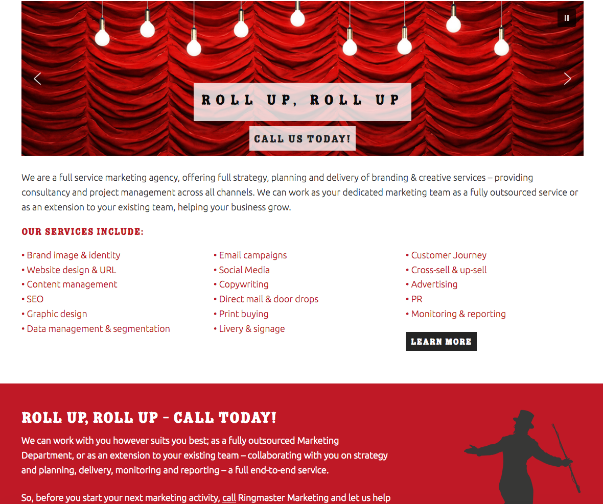 Web design for Ringmaster Marketing