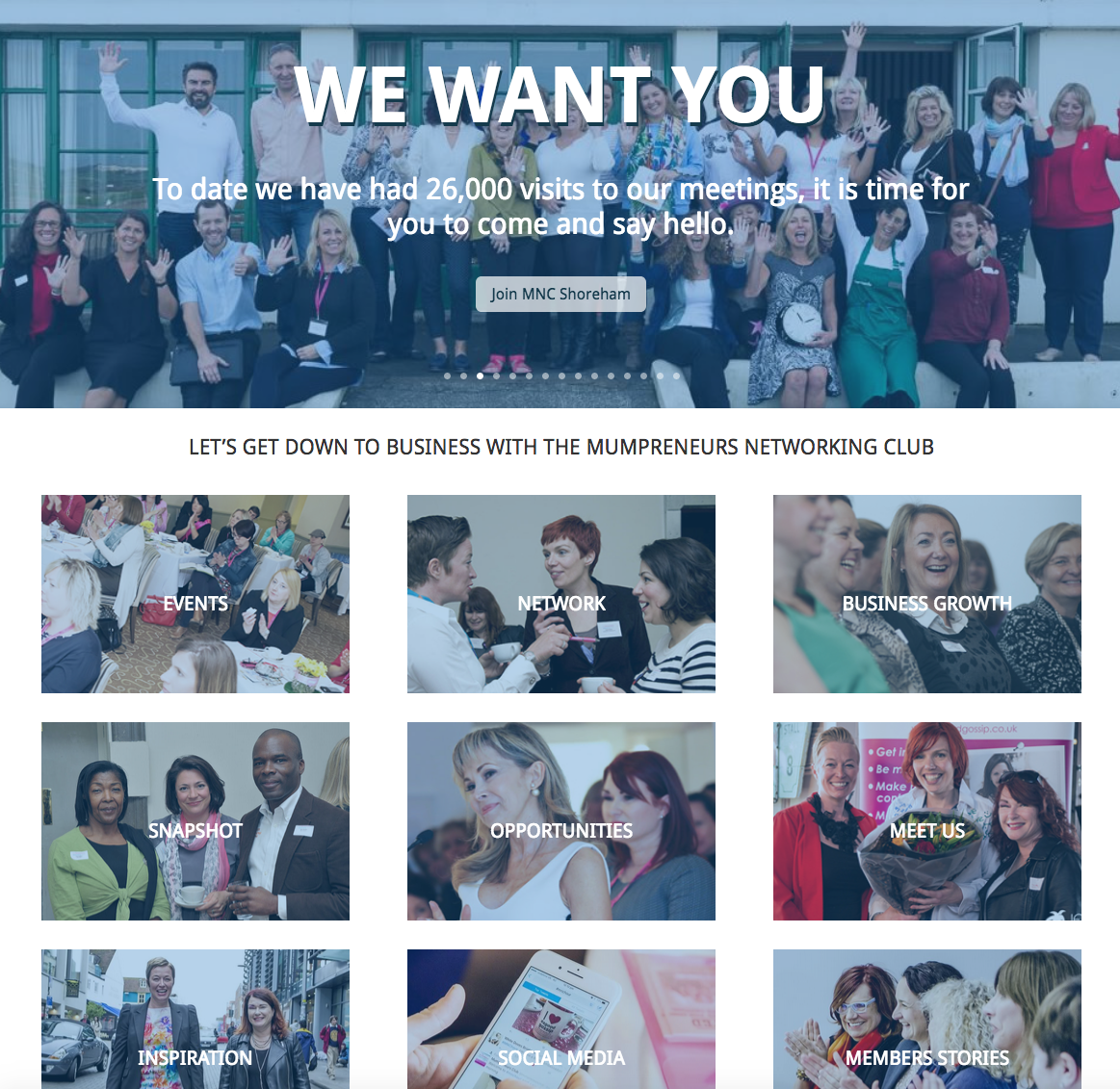 Web design for The Mumpreneurs Networking Club