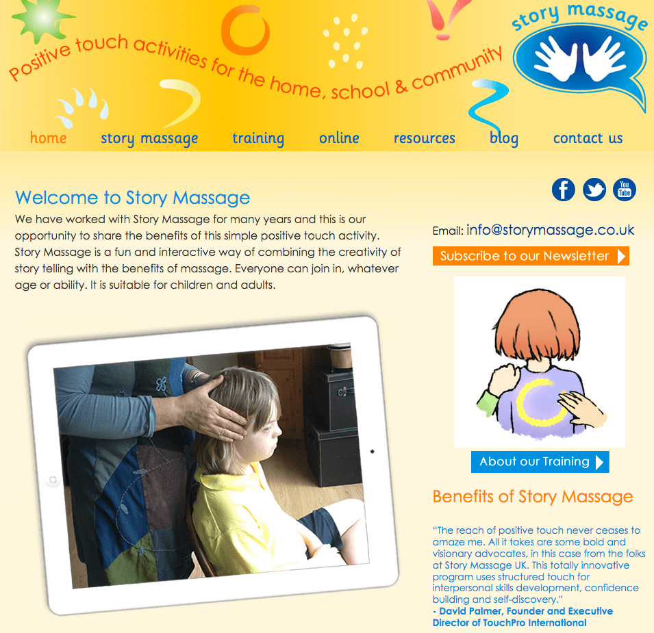 Story Massage web design by Shake It Up Creative
