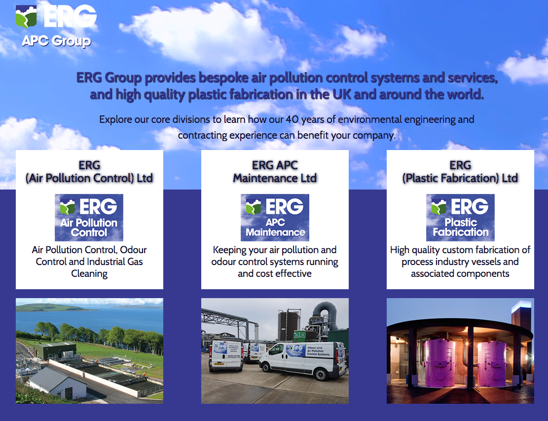 Web design for ERG Group