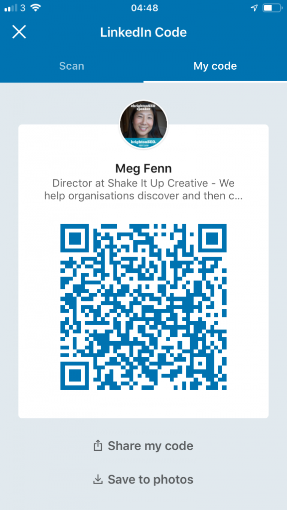 Scan QR code in LinkedIn App