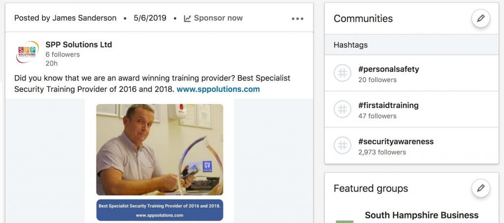 Associate hashtags with your company page: LinkedIn updates
