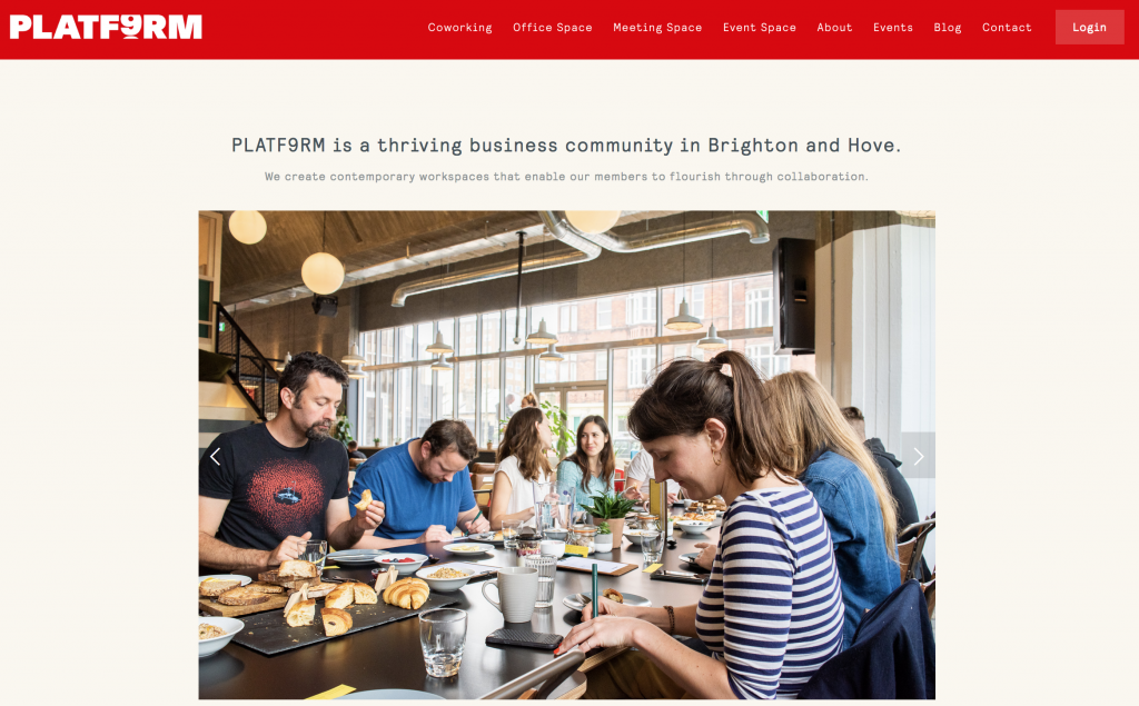 Platform 9 is a business website targeting people looking to join a business community in Brighton & Hove