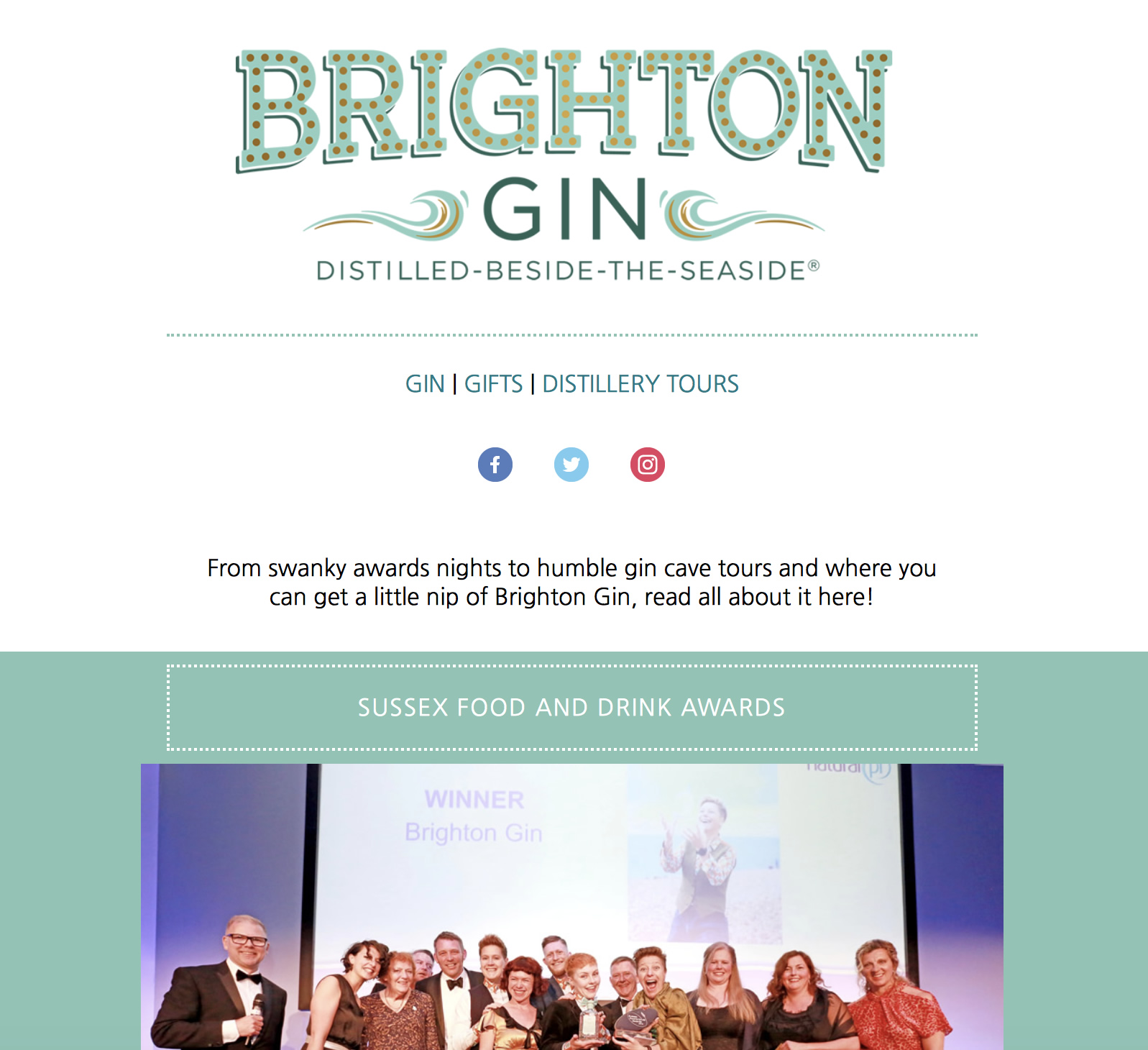 Brighton Gin newsletter design by Shake It Up Creative